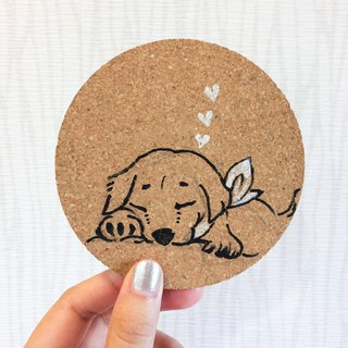 Dog series custom hand-painted cork coasters