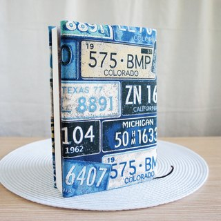 Lovely does not let you see cloth book, blue and blue retro license plate, cloth book cover [A5 PDA available]