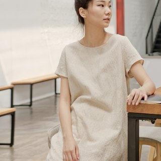 BUFU jacquard weave linen dress  D180112