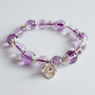 High quality clear amethyst 925 sterling silver orchid silver ‧ bracelet