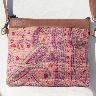 Sew a Valentine's Day gift limit yarn Li Bu side backpack / messenger bag embroidery / embroidery shoulder bag / hand-stitched saris Line Cosmetic / yarn Li Bu stitching leather backpack - pink flowers Star + National Forest Totem (in)