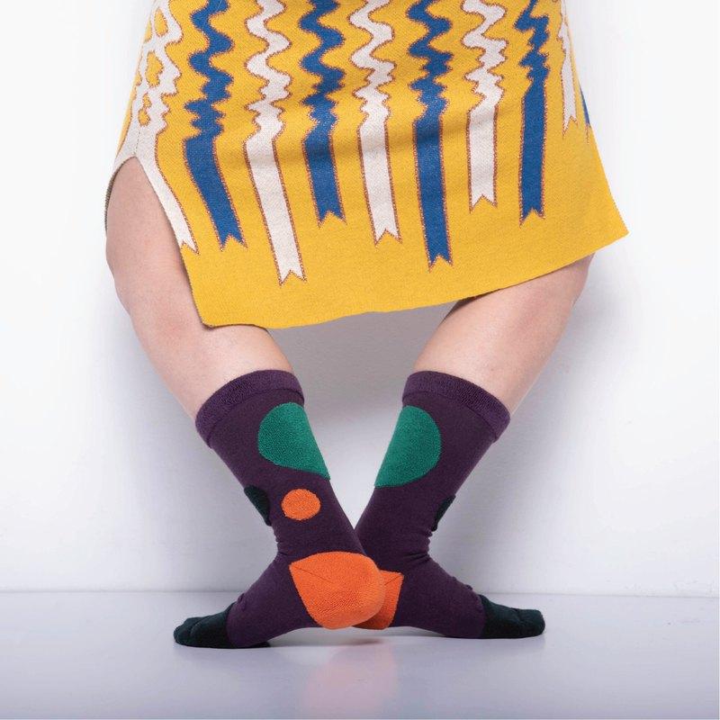 內在美系列 - 心 深紫色 雙面中筒襪 Reversible Socks