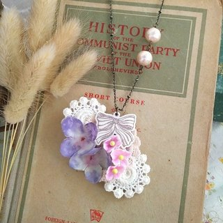 Garohands wind canvas cloth cotton pearl hydrangeas feel long chain * bow section temperament elegant gift Ⅱ A540