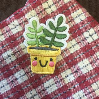 Happiness and more self-adhesive embroidered cloth stickers - healing cactus series