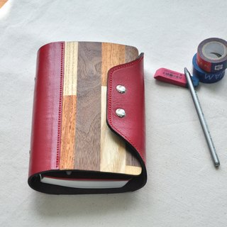 Mix veneer series: multicolored veneer mix red leather 6 hole B6 loose-leaf notebook