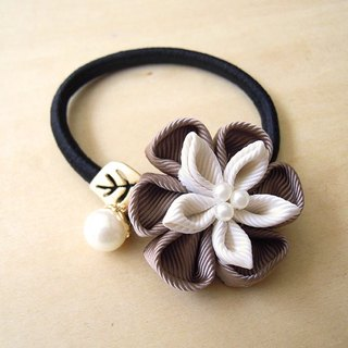 RARAPUPU ribbon flower pearl hair ring brown