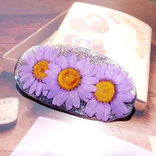 Resin hair clip, Hair pin with real flowers, Flower hair accessory