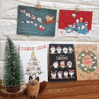"""Wonderful Kaka"" cat Christmas / postcards (a set of five)"