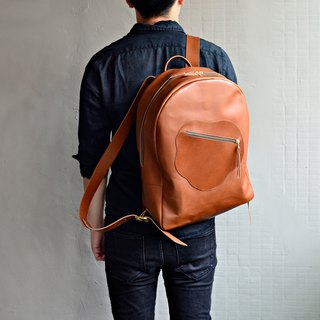 [After the fall of the fall of the maple leaves] leather zipper backpack caramel seasoning tanned leather travel abroad to adjust the length of the search for free Valentine's Day gift lettering