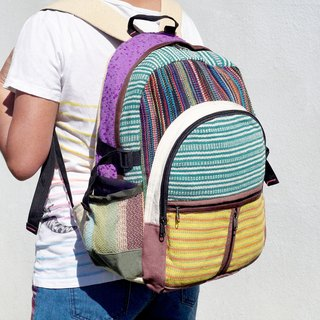 Christmas gift limit after a hand stitching design cotton backpack / shoulder bag / ethnic mountaineering bag / Patchwork bag - colorful striped geometric ethnic Backpack