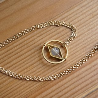 Labradorite geometric brass chain clavicle