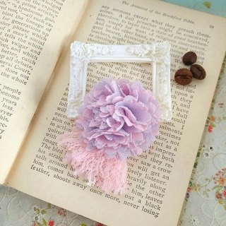 Garohands double ball chiffon lace tassels brooch * Pink F050 feel gift Wen Qing fresh forest department