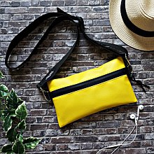 2WAY thick belt synthetic leather sacoche  Yellow  Also as a body bag