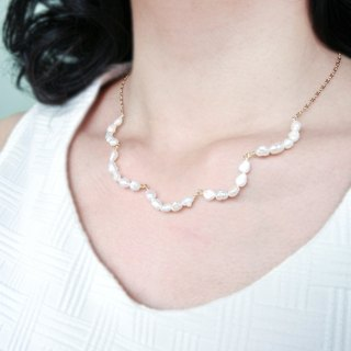 [Small wave lace] natural freshwater pearl necklace