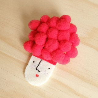 Miss Hairy Collection / Brooch / Red