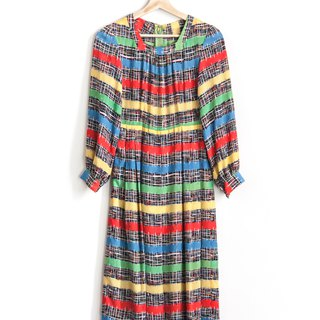 Vintage color noise impression vintage long-sleeved dress