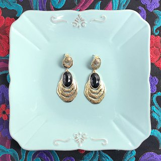 Black imitation gemstone antique earrings BKA046