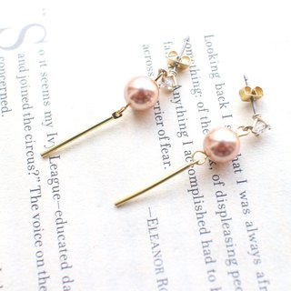 Candy- Pearl brass handmade earrings