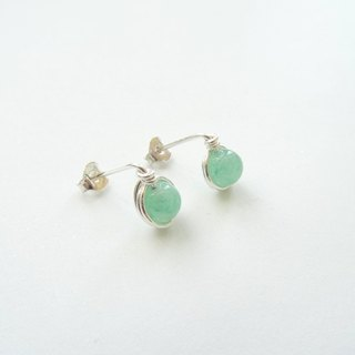 Ear Studs - Aventurine Beads Sterling Silver Wire Wrapped Stud Earrings