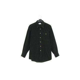 Back to Green :: Corduroy black / / men and women can wear / / vintage Shirts