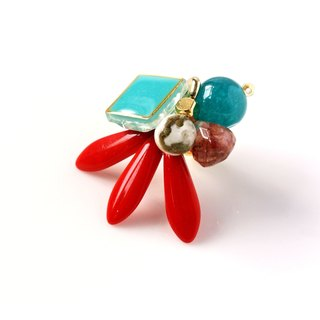 Retro system. Bright red semi-precious stones sword-shaped petal earrings (1 for sale)