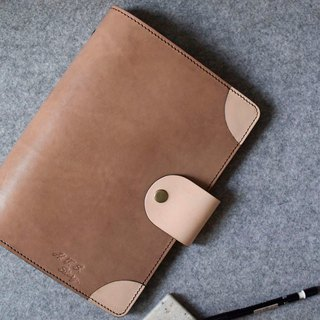 YOURS copper button rounded leather loose-leaf notebook A5 wood color leather + primary color