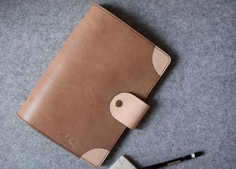 銅釦式圓角真皮活頁筆記本 原木色皮革+原色