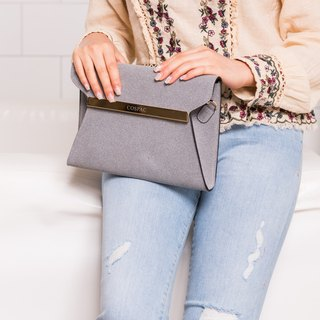 Elegant Design Grey Synthetic Suedette Leather Square Clutch Evening Bag