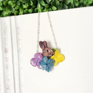*Haku‧Neko*Hide and Seek - Hydrangea flowers small rabbit and colorful necklace real flower garden (true three-dimensional flower) [Order Products]