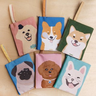Dogs canvas clutch bag (six pattern)