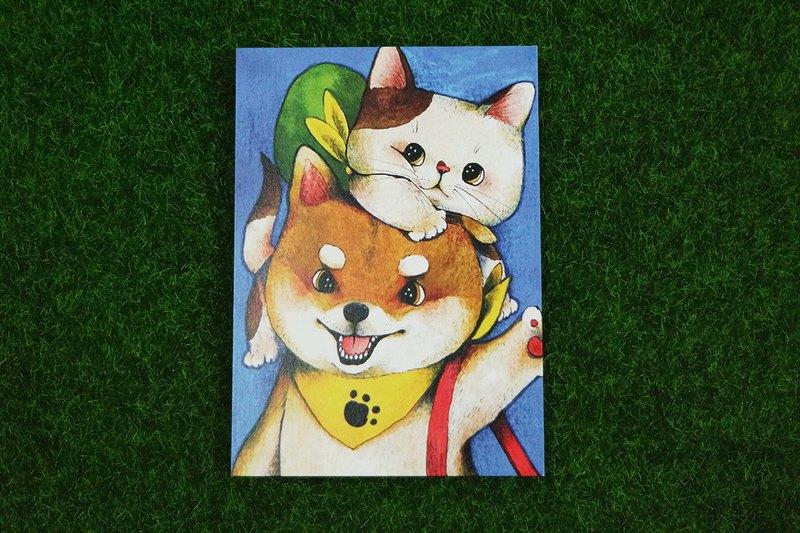 柴犬與貓插畫明信片