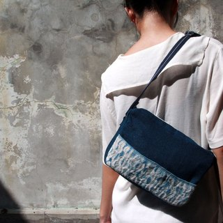 Dyeing weaving series / blue dye / semi-woven / side backpack / front storage bag
