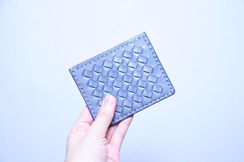 【織皮咭套|Weaved Leather Card Case —白蠟藍 W.Waxed Marine】皮革材料包 免費壓字 皮革銀包 生日禮物 情人節禮物 聖誕禮物 意大利皮 植鞣革 皮革DIY 白蠟