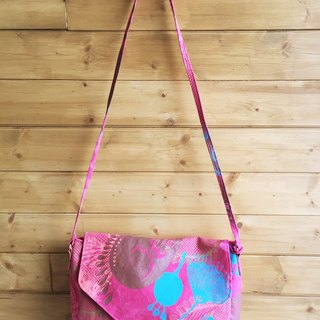 Hand-printed messenger bag