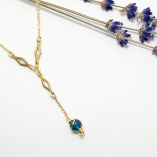 · Hand Necklace crystal necklace gold peacock blue planet