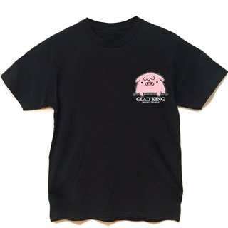 Pink pig pocket QQ black short-sleeved T-shirt