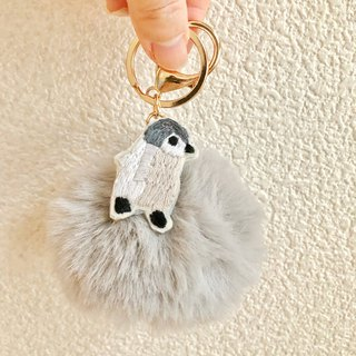 Fur Ponpon Bag Charm Gray Embroidery Baby Penguin