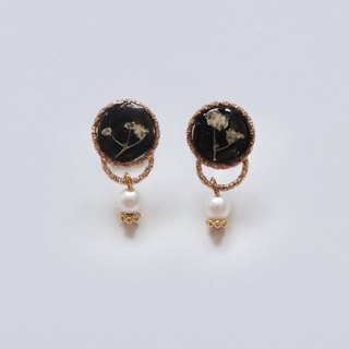 Black and White Pressed Flower Earrings with Cotton Beads