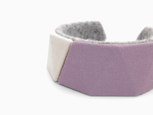Unique canvas bracelet, Kawaii delta bangle,3D print, 3D printing, 3D printed, Gift for women, felt natural unbleached【ピンク】