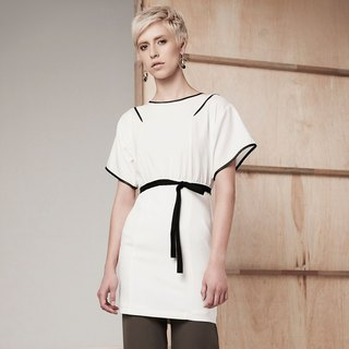Wide Sleeve Piping Pencil Dress (White)