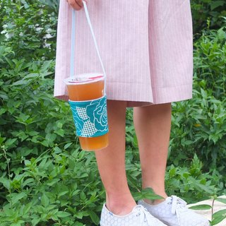Recycled coffee cozy teal rose cup sleeve