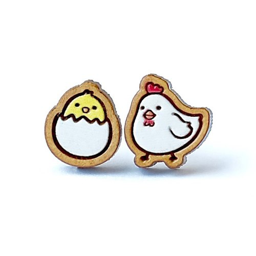 Painted wood earrings-chicken and egg / Two random