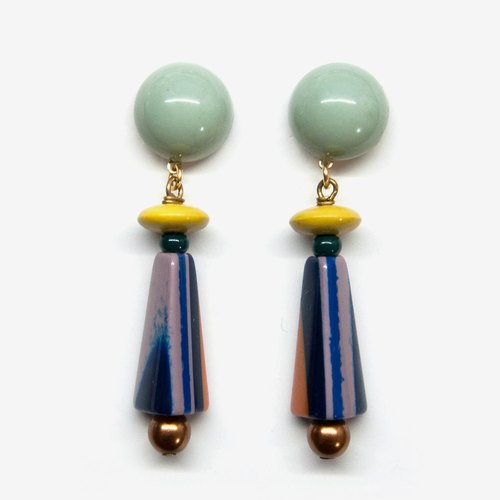 Modern Stripe Earrings - Grayish Green