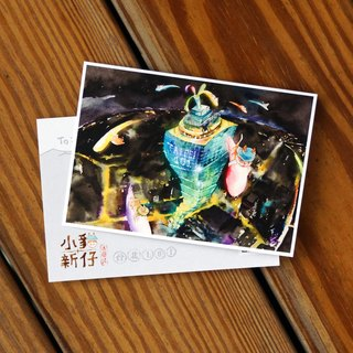 Kitty New Wave Travel Series Postcard - Taipei 101