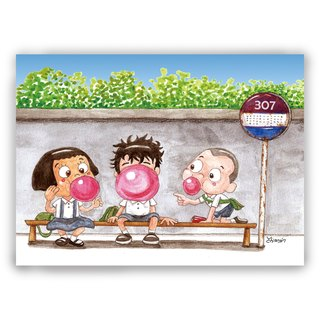 Hand-painted illustration universal / postcards / cards / illustration card - blowing bubbles and other buses