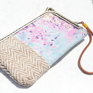 Limited edition handmade Patchwork phone bag / mobile phone case / coin purse / swim card sets / mouth gold package / mouth gold mobile phone sets - rendering ocean hand stained watercolor canvas + cotton (small)