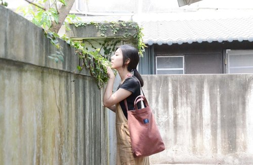 ::Bangstree:: two-colored reversible canvas bag -Maroon+DarkBlue