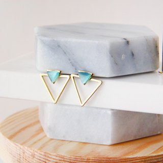The only solution - blue double triangle earrings (pair) [can be changed ear clip] [Pinkoi exclusive sale]