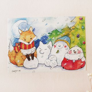 Bear's postcard - Fox and Snowman
