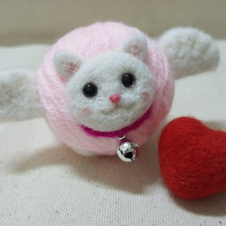 "Original wool felt ""cat"" line ball keychain sweet angel cat lover Limited models"
